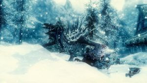 Skyrim Dragon Rawr wallpaper by Mallony