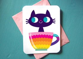 CARD 4.25x5.5 Color CatCup by SaltyMoose