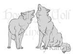 Howling Wolves Lineart by Kaivris