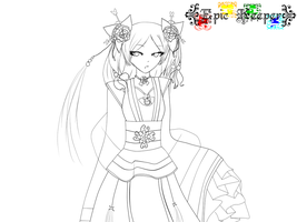Lineart - Chinese Flower Girl by EpicKeeper