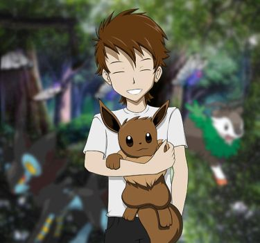 Just a youngster with an Eevee by JayGoldz10