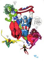 Captain America with friends by guillomcool