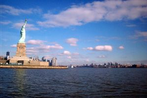 Liberty Island from a boat by PureIdiocy