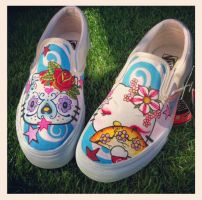 Hello Kitty Slip on Vans by VeryBadThing