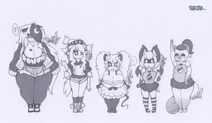 SFJR ~ Female OC lineup 1 by SCIFIJACKRABBIT