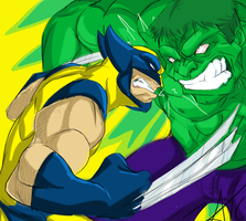 Wolverine vs Hulk by Scribbletati