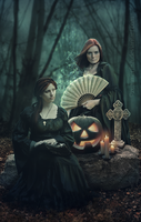 Two witches, one pumpkin by zummerfish