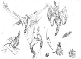 Doodles of a deathcrane by KestrelWings