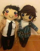 Supernatural: Sam Winchester and Castiel Plushies by ChibiVillage