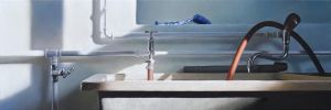 Washroom, 2014, 40 x 120 cm, oil on canvas by christopheberle