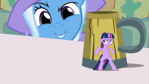 Twilight hiding from the Giant and Powerful Trixie by kwark85