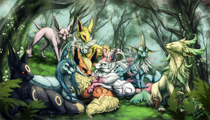 Commission: Eeveelution Forest by ShadeofShinon