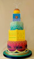 Bollywood wedding cake by louise-art
