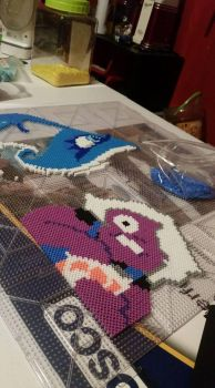 Young Amethyst and Blue Diamond Bead Art by Gr8Beads