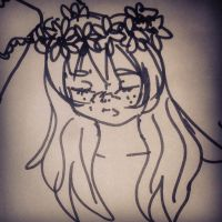 sketch: woman with flowers by ItalianDream