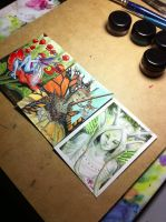 Water color faeries ACEO cards by S0WIL0