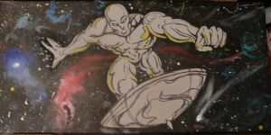 Silver Surfer painted table by NickMockoviak
