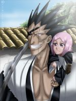 Zaraki Kenpachi and yachiru by YuiMisuki
