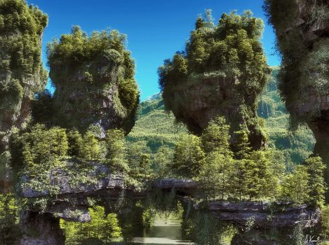 Valley of the Stone Towers by AronKamo