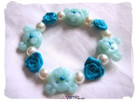 Blue Rose Teddy Bear Bracelet by Cateaclysmic