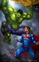 Superman vs Hulk by Aioras
