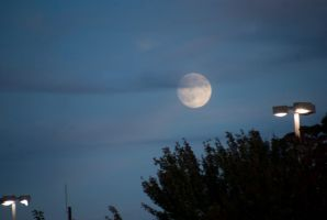 Almost Full, Moon Orb and Cloud Cover In the Sky by Miss-Tbones