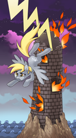 My little pony tarot card 16. The Tower -Derpy by kairean