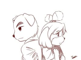 K.K. Slider and Isabelle by amito