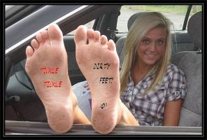 DIRTY FOOTED PRETTY BLONDE STICKS HER FEET OUT! by tkltkltklyou