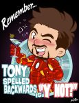 Tony spelled backwards is ''Y NOT?'' by kevinbolk