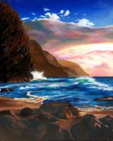 Kawaii Beach Oil Painting by CamT