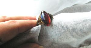Flashing Fire Opal Ring adjustable Dragon's stone by artistiquejewelry