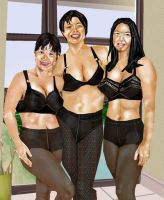 Mom and Daughters in Black Pantyhose by val65000