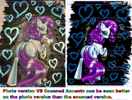 Rarity Rear View w Blue Metallic Hearts on Black by alaer
