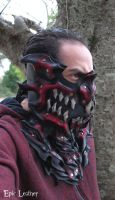Leather Ruby Stealth Dragon Mask by Epic-Leather