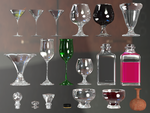 Wine Glasses, Bottles And Tops PNG Stock by Roys-Art