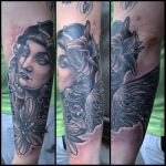 Tattoo - Angel with flowers by Xenija88