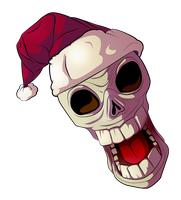 Cartoon Skull in a Santa Hat by eballen