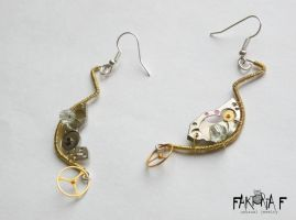 Gold Steam Crescent Earrings by faktoria-f