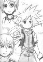 Sora, Kairi, and Riku by SangoSlayer299