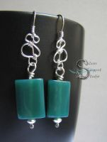 Green Agate Earrings by PurlyZig