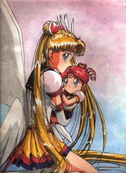 Sailor Moon and Chibi-chibi by Tyutya