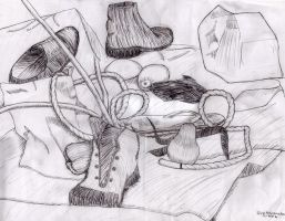 Still Life Line Drawing by ellyabby