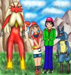 Blaziken, May, Brandon and Lucario by Jezrocket