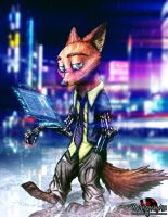 Cyberpunk Nick Wilde by MetaDragonArt