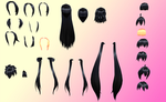 MMD Huge NJXA hair pack + NJXA Texture pack by amiamy111