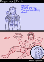 DA2: Anders and Hawke and Cake by villain42