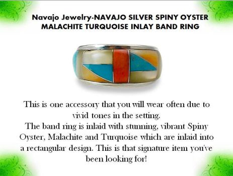 Navajo Jewelry-NAVAJO SILVER SPINY OYSTER MALACHIT by mesaverde1