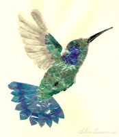 Blue-Throated Hummingbird collage by Arery