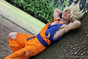 Goku cosplay .:Relax time:. by Alexcloudsquall